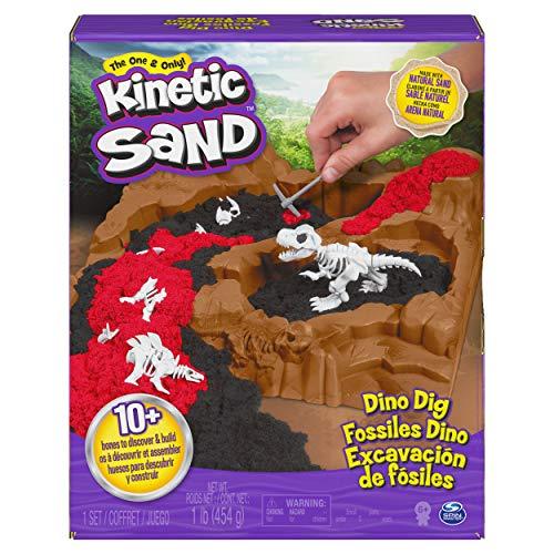 Kinetic Sand 6055874 Dino Gräv lekset med 10 dolda dinosaurieben att upptäcka, för barn från 6 år och uppåt