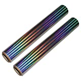 Papel Vinilo Holográfico Color Arcoíris (Pack de 2) 29,6cm de Ancho, 5 Pies de Largo 0,07mm de Grosor -Resistente al Agua, Autoadhesivo para Manualidades, Libros de Recorte, Regalos Personalizados