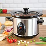 Quest 35260 Slow Cooker / 1.5 Litres / Compact Stainless Steel / 120W / 3 Temperature Settings / Transparent Toughened Glass Lid / Dishwasher Safe