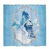 Allenjoy 183 x 183 cm Winter Duschvorhang-Set mit 12 Haken Weihnachten Frozen Ice Castle Badezimmer Vorhang Durable Wasserdicht Stoff Badewannen Sets Home Decor