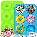 Walfos - Juego de 2 moldes de silicona antiadherentes con 6 cavidades, perfecto para hacer donuts de galletas, sin BPA y apto para lavavajillas