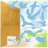 Qualiveau® Pegatina para ventana de 12 a 30 cm, diseño de protección contra golpes de pájaros, juego completo con ayuda para pegar, color azul cielo