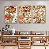 SXXRZA Arte de la Lona 3 Piezas 50x70cm Sin Marco Arte Abstracto Imagen de Pared de Estilo japonés para la Sala de Estar decoración del hogar Impresión de Flores Póster de Lienzo Arte de la Pared