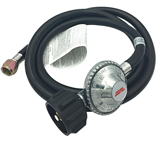 """Gauge Master Premium 5 Foot Universal QCC1 Low Pressure LP Propane Regulator - BBQ Grill Replacement Hose fits Most LP Gas Grills, Heaters and Fire Pit Table - 3/8"""" Female Flare Nut (5 Feet) Connectors Grill Hoses"""