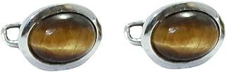 Gemas de plata de ley 925 con sello distintivo para hombre, piedra natural de ojo de tigre