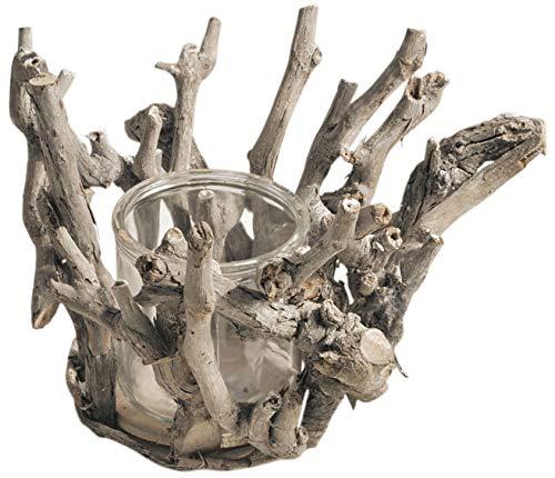 CHICCIE Kerzenhalter Aus Holz Mit Glaseinsatz 18cm Natur Braun Rund - AST Laterne Teelichthalter Windlicht Holzlaterne