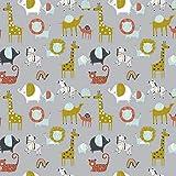 Hans-Textil-Shop Stoff Meterware Tiere Safari Zebra Elefant