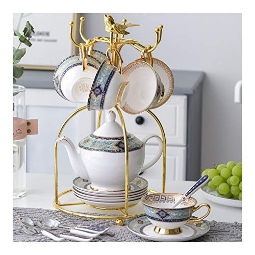 Coffee cup European style small luxury suit single bone china English ceramic high-end flower tea cup exquisite afternoon tea tea set (Color : 1 set)