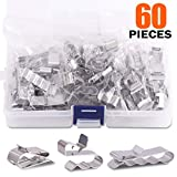 Rustark 60 Pieces Stainless Steel Cable Clips kit with 34 mm 23mm 14mm Wiring Frame Clip PV Module Wire Management for Solar Application Trailer Boat Auto