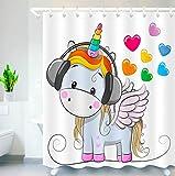 LB Cartoon Unicorn Shower Curtain Unicorn Listening to Music Colorful Heart Shower Curtains Hooks for Kids Bathroom Decor, 70x70 Inch Waterproof Fabric Curtains Set