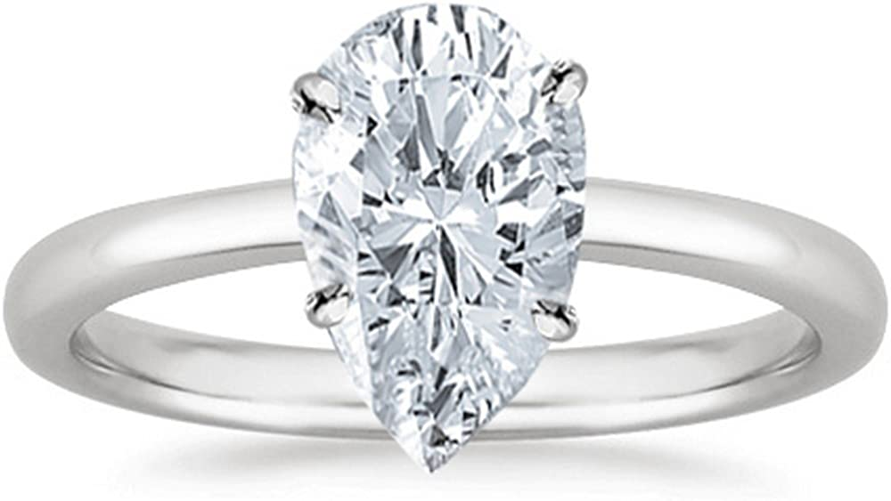 0.5 1/2 Ct Pear Cut Solitaire Diamond Engagement Ring 14K White Gold (G-H Color SI3 Clarity)