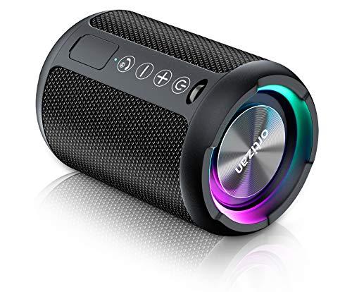 Ortizan Kabelloser Bluetooth Lautsprecher mit LED Licht - Tragbarer Lautsprecher Bluetooth Boxenmit Enormer Bass, IPX6 Wasserschutz, Freisprechfunktion, 15h Akku, für Phone, USB, Outdoor, Schwarz