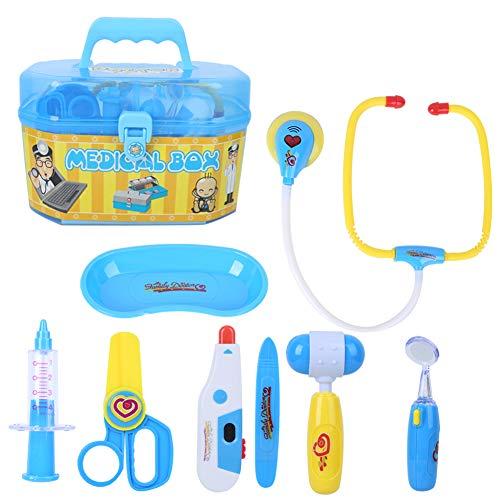 GOTOTOP Kit médico para niños, Estuche médico, Juego de Juguetes para médicos y Enfermeras, Aula Escolar y Disfraz de Juego de Roles para niños y niñas(Azul)