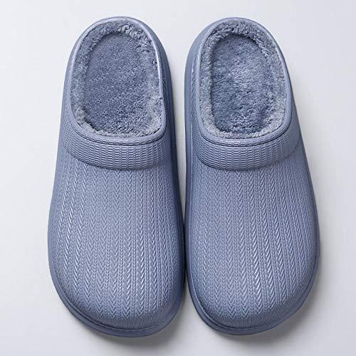 ypyrhh Cozy Memory Foam House Slippers for Hombre, Zapatillas impermeables para el hogar, zapatos de algodón de punta redonda caliente-gris_37-38, Memory Foam House Slipper