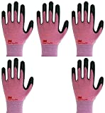 Lightweight Nitrile Work Gloves Supegrip200, 3D Comfort Stretch Fit, Durable Power Grip Foam Coated, Smart Touch, Thin Machine Washable, 5 Pairs Pack (Small, Pink)