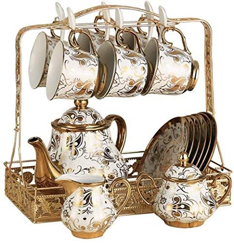 Estilo Europeo juego de té maravillosamente cerámica taza de té sistema incluyendo 6 piezas de la taza de té y cuchara con 1 tetera soporte metálico for el hogar y la Copa y de oficina platillo Sets (