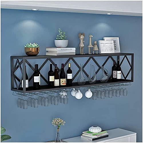 Estante para vino, bar, restaurante, vino, cristal, para colgar en la pared, 2 niveles, soporte para colgar botellas de vino industrial de metal, 60 cm (color: 100 cm)