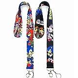 XINBANG Juguetes sónicos 2pcs/Set Anime Sonic The Hedgehog Phone Holder Lanyard Neck Hanging Work ID Card Key Holder Ribbon Chain Action