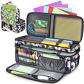 Double-Layer Carrying Case for Cricut Die Cut Machine Water-Resistant Carrying Bag with Cutting Mat Pocket Tote Bag Compatible with Cricut Explore Air Air 2 Maker and Maker 3 Bag Only  Floral