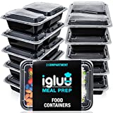 2 Compartment Meal Prep Containers - Reusable BPA Free Plastic Food Storage Trays with Airtight Lids -...
