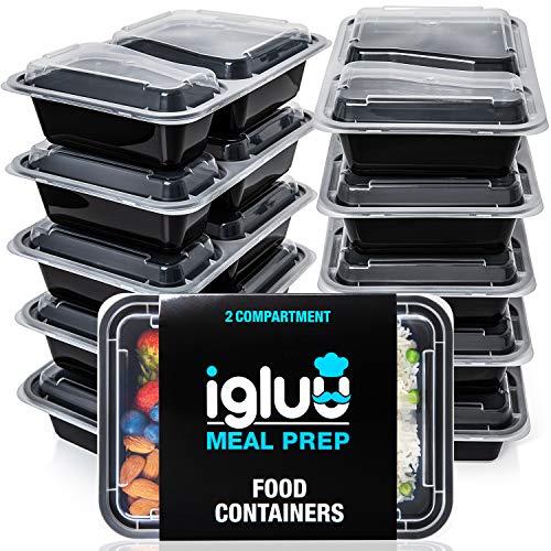 Contenedores De Comida Con 2 Compartimientos (Set de 10) - Plásticos, Reutilizables, Sin BPA, Cierre Hermético - Para Lavavajillas, Congelar, Microondas - Recipientes De Alimentos Bento Apilables