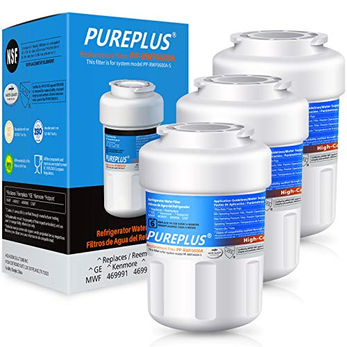 PUREPLUS MWF Replacement for GE SmartWater, HDX FMG-1, MWFP, MWFA, PL-100, WFC1201, RWF0600A, PC75009, RWF1060, 197D6321P006, GSE25GSHECSS, Kenmore 469991 Refrigerator Water Filter Cartridge, 3Pack