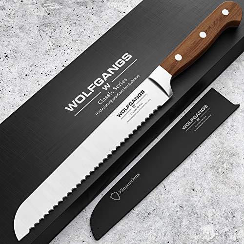 WOLFGANGS Premium Brotmesser - Extrascharfe Qualitäts-Klinge aus rostfreiem deutschem Edelstahl - Brotmesser Wellenschliff - Bread Knife in edlem Design - Profi-Küchenmesser Top-Qualität (braun)