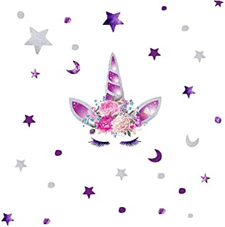 KUYUE Purple Unicorn Wall Decals Removable Wall Stickers for Boys Girls Kids Decorations Bedroom Living Room Playroom Classroom