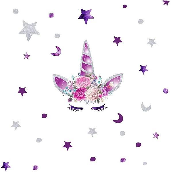 KUYUE 紫色独角兽墙贴花可移除墙贴男孩女孩儿童装饰品卧室客厅游戏室教室