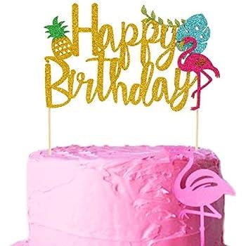 Stupendous Amazon Com Flamingo Pineapple Cake Toppers Happy Birthday Cake Funny Birthday Cards Online Fluifree Goldxyz
