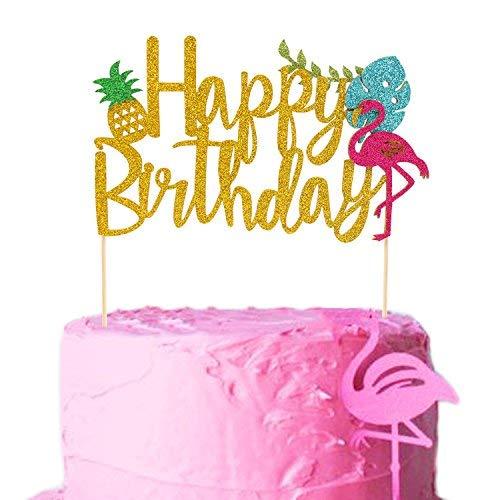Flamingo Pineapple Cake Toppers Happy birthday Cake picks Tropical Hawaiian Luau Themed Glitter Party Supplies Decorations (big)