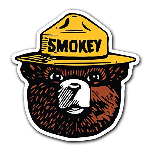 CUSTOMI Smokey The Bear Firefighting Wildlife Decal Sticker for Car Truck MacBook Laptop Air Pro Vinyl (1 Pack)