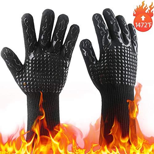 Songwin Grillhandschuhe,Ofenhandschuhe Grill Kochhandschuhe Hitzebeständige bis zu 800 ° C,Universalgröße Lederhandschuhe Backhandschuhe für BBQ Kochen Backen-Extra Langer Saum (Schwarz)