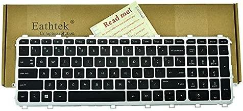 Eathtek Replacement Backlit Keyboard with Silver Frame Black key for HP ENVY 15-J 17-J 15-j000 15-j100 15t-J000 15t-j100 15z-j000 15z-j100 17-j000 17t-j000 HP TouchSmart 15-j000 series Black US Layout