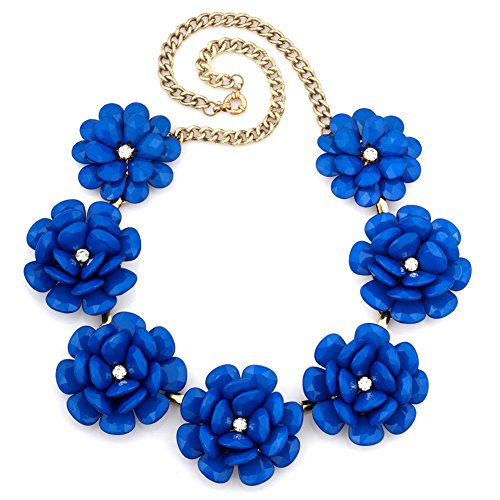 Korliya Large Big Rose Flower Statement Necklace Chunky Choker Pendant For Women (Blue)