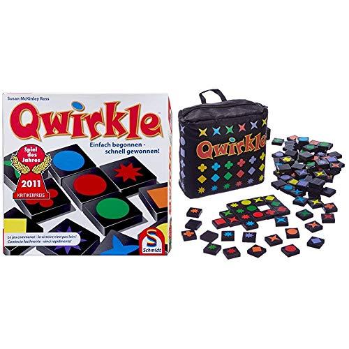 Schmidt Spiele 49311 Qwirkle, Legespiel & 49270 Qwirkle Travel, Spiel des Jahres 2011 als Reisespiel, bunt