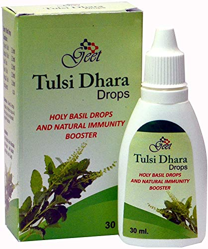 GEET Tulsi Drops Natural Immunity Booster Pack de 30 ml – Certificado 5 tipos diferentes de tulsi raro, gotas de albahaca sagrada 30 ml