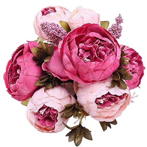 StarLifey Artificial peonía 1 ramo 8 cabezas Flores de seda para decoración del hogar o bodas (Rosa Oscuro)