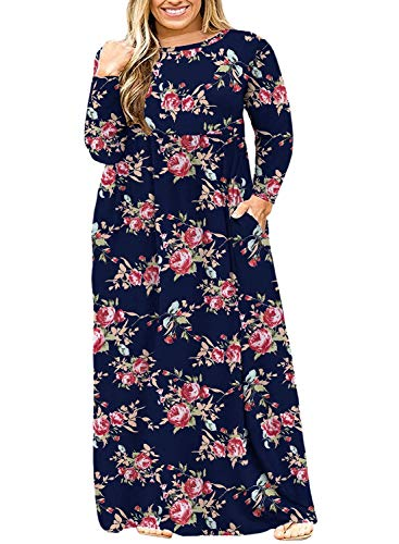 BISHUIGE Womens Long Sleeve Casual Plus Size Maxi Dresses with Pockets 4XL, Rose Blue