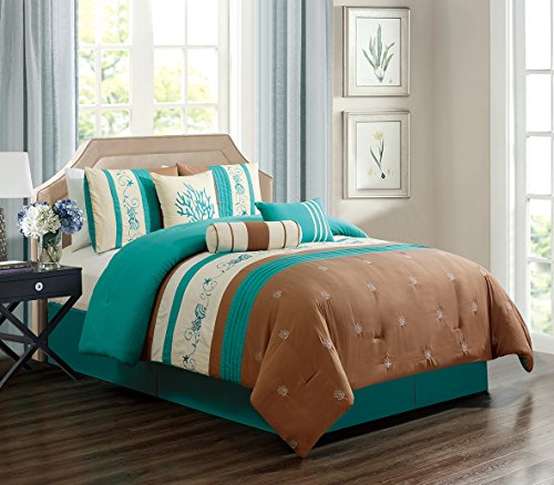 GrandLinen 7 Piece Turquoise Blue/Light Brown/Beige Tropical Coast, Seashell, Beach Embroidery Bed in A Bag Microfiber Comforter Set King Size Bedding. Perfect for Any Room