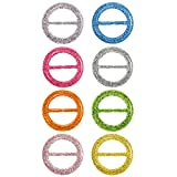 8 Pieces 80's Party Plastic Fashion T Shirt Clips, T Shirt Scarf Clip Ring (Color A, Size A)