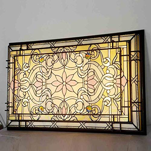 Lámpara de techo LED Tiffany Style, 144 W, retro, pintura de cristal, regulable, lámpara de techo para decoración de salón, empotrada, 117 x 75 cm