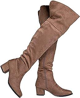 918a96c0a856 J. Adams Brandy Over The Knee Boot - Trendy Low Block Heel Suede Thigh High