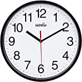 Hippih Clock Black Wall Clock Silent Non Ticking Quality Quartz - 10 Inch Round Easy to Read for Home Office & School Decor Clock