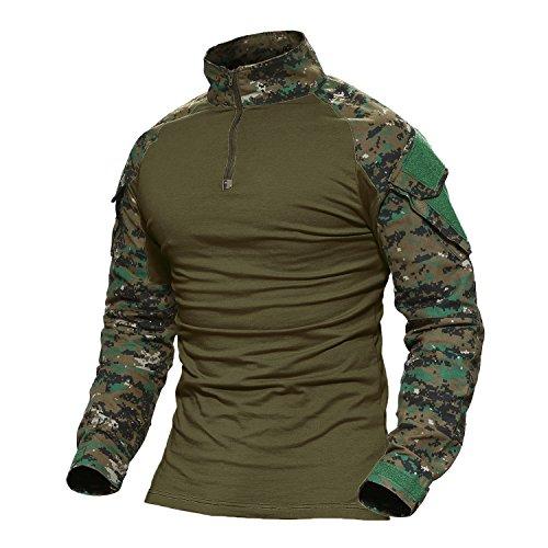 MAGCOMSEN Combat Shirt Men Army T Shirt Long Sleeve Tactical Airsoft Camo Shirts T Shirts for Men T Shirts Fishing Shirts Long Sleeve