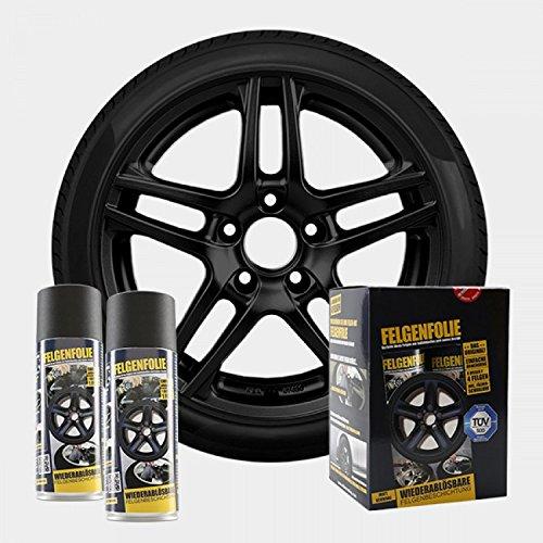 Preisvergleich Produktbild mibenco 71001103 FELGENFOLIE-Set,  4 x 400 ml,  schwarz matt
