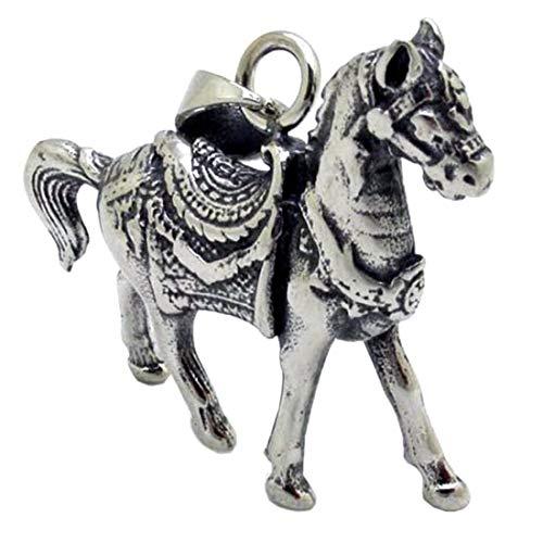 (M) ペンダント トップ メンズ メリーゴーランドホース 馬 チョーカー ネックレス 首飾り シルバー サージカルステンレス316L チャーム パーツ 金属部品 リアル 立体