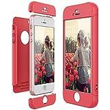 CE-Link Funda para Apple iPhone 5 5S Se Rigida 360 Grados Integral, Carcasa iPhone 5S Silicona Snap On Diseño Antigolpes Choque Absorción, iPhone Se Case Bumper 3 en 1 Estructura - Rojo