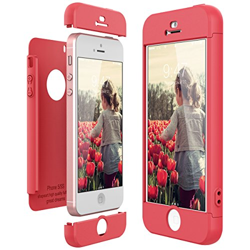 CE-Link Funda para Apple iPhone 5 5S Se Rigida 360 Grados Integral, Carcasa iPhone 5S Silicona Snap On Diseño Antigolpes Choque Absorción, iPhone Se Case Bumper 3 en 1 Estructura - Rojo