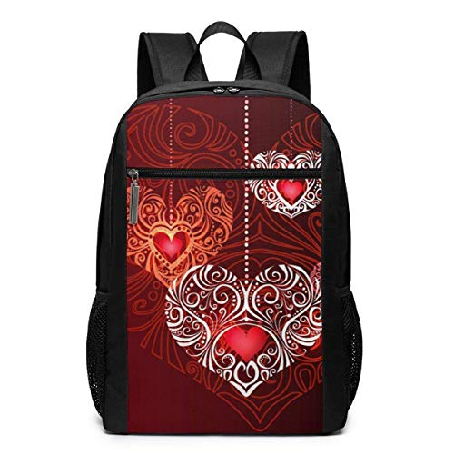 TRFashion Sac à Dos Red Decorative Jewelry Hearts Laptop Backpack 17 inches Travel Gym Bag Yoga Bag School Bag Book Bag for Men Women Teenagers